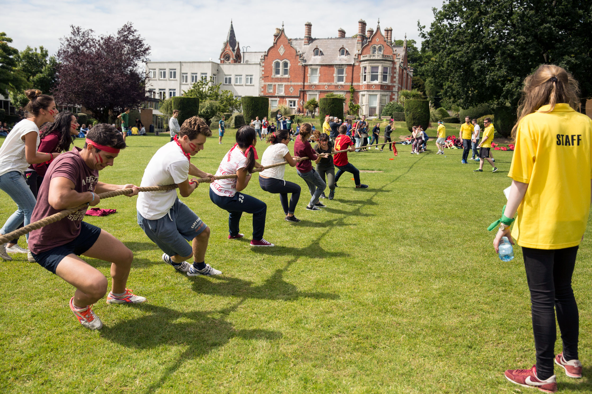 tug of war in front of Mount Temple Dublin